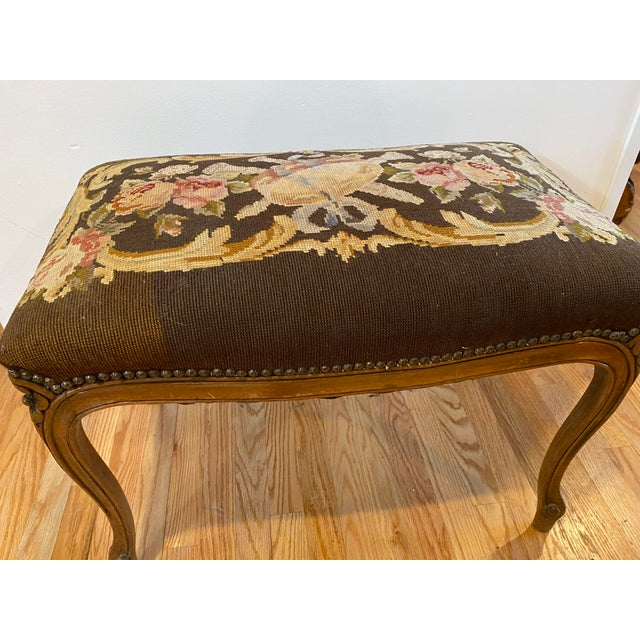 Early 19th Century Vintage Needle Point Drum and Flower Design Bench For Sale - Image 5 of 10