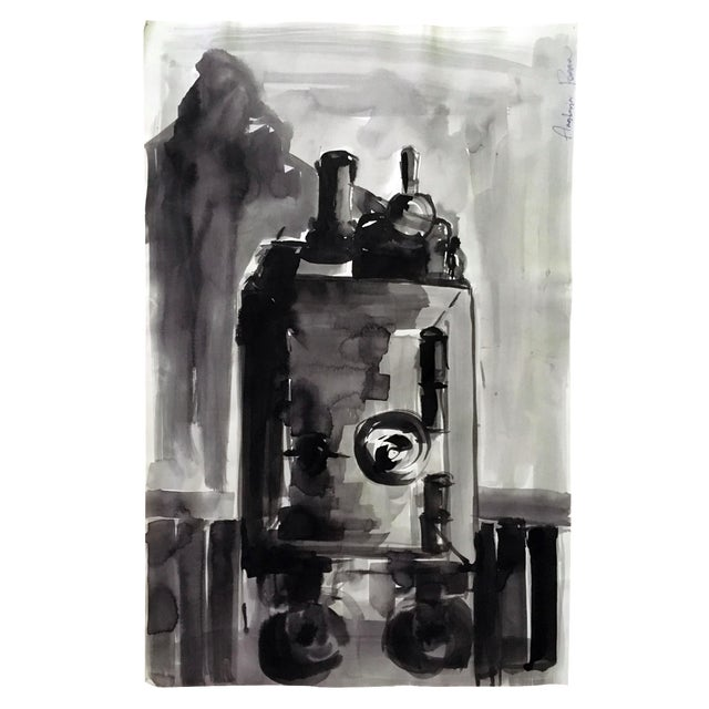 Abstract Original Black & White Painting - Image 3 of 3