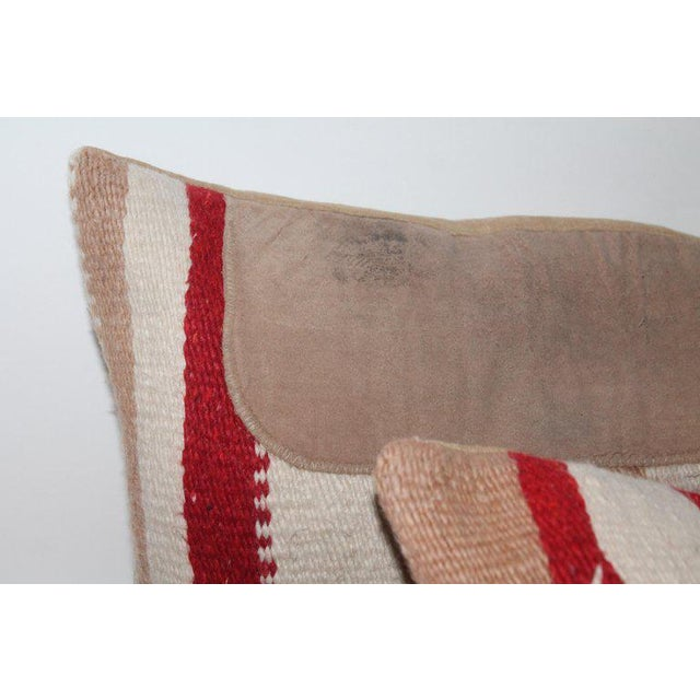 Navajo Indian Weaving Saddle Blanket Pillows - A Pair For Sale - Image 9 of 10