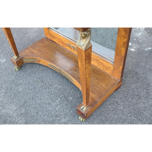 Mid 19th Century Antique English Regency Amboyna Egyptian Revival Pier Console Table W/ Upper Arched Mirror Top C1850 For Sale - Image 5 of 12
