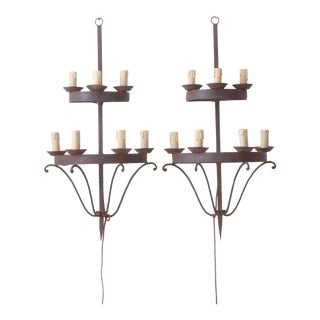 Italian Iron Wall Sconces - a Pair For Sale