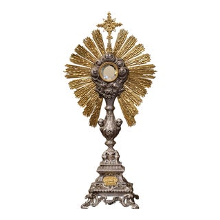 19th Century French Brass and Silver Plated Catholic Church Monstrance For Sale