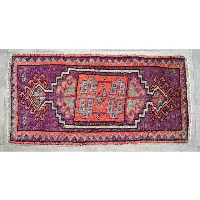 Antique twilight lavender (dark magenta-pink/dark rose) background color yastik rug perfect for a small guest bath or in...