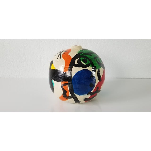 Peter Keil Abstract Painted Colorful Vase For Sale In Miami - Image 6 of 8