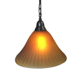 Bronze Hanging Lamp With Amber Glass Shade For Sale