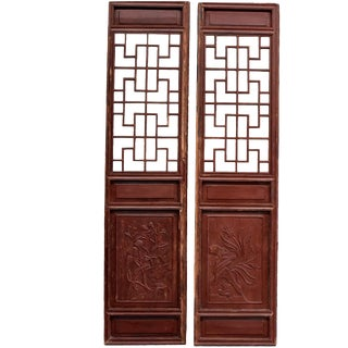 Antique Chinese Doors Screens, Orchids and Pomegranates - A Pair For Sale