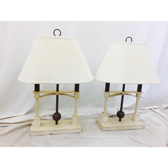 White Vintage Mid-Century Modern Art Deco Lamps - a Pair For Sale - Image 8 of 10