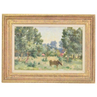 Early 20th Century Belgian Impressionist Pastoral Landscape Scene With Cow Oil Painting by Charles Defreyn For Sale