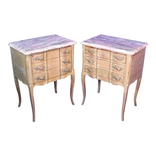 F. Zambrano Louis XV Style Marble Top Commode Nightstands- A Pair For Sale
