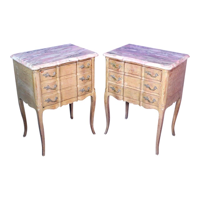 F Zambrano Louis Xv Style Marble Top Commode Nightstands A Pair Chairish