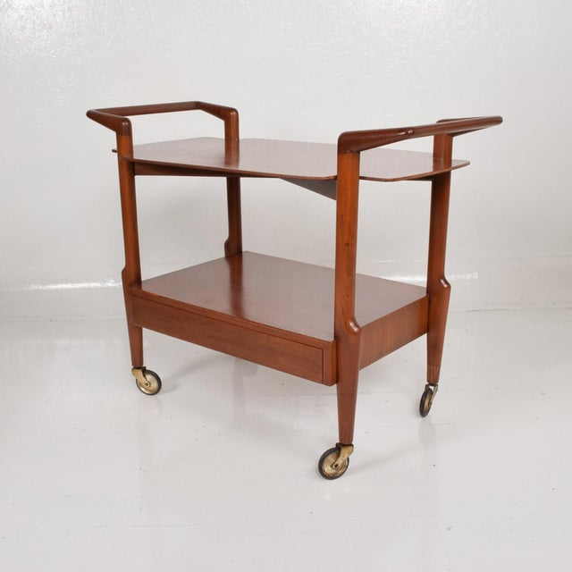 For your consideration, a Mid Century Modern Mexican Modernist Service Cart in Mahogany Wood. Regil De Yucatan Charles...