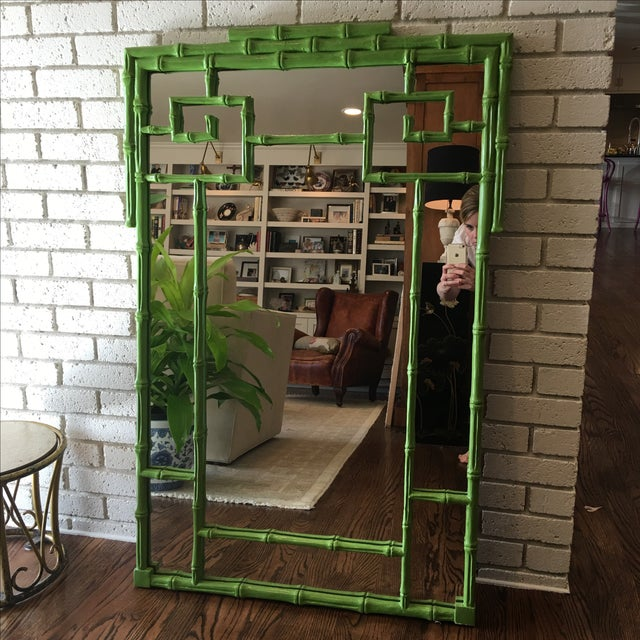 Green Faux Bamboo Mirror - Image 2 of 5
