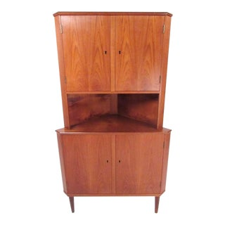 Scandinavian Modern Teak Corner Cabinet For Sale
