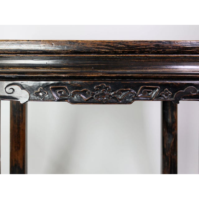 Chinoiserie 19th Century Antique Hand Carved Chinoiserie Wooden End Tables or Nightstands - a Pair For Sale - Image 3 of 7