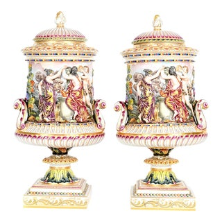 Porcelain Covered Urns / Pieces - a Pair For Sale