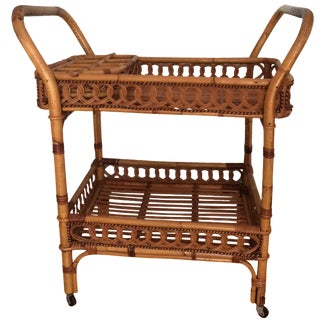 Woven Rolling Bar Cart with Trays For Sale