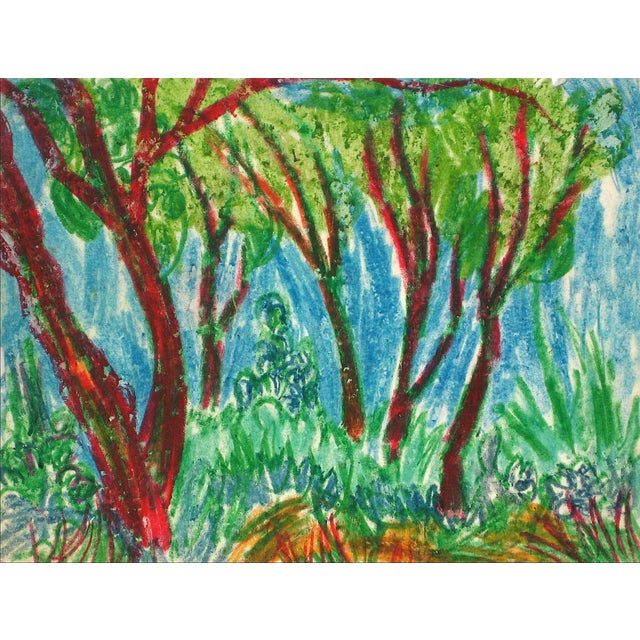 Trees in a Forest Grove, Oil Pastel Drawing, Circa 1960 For Sale