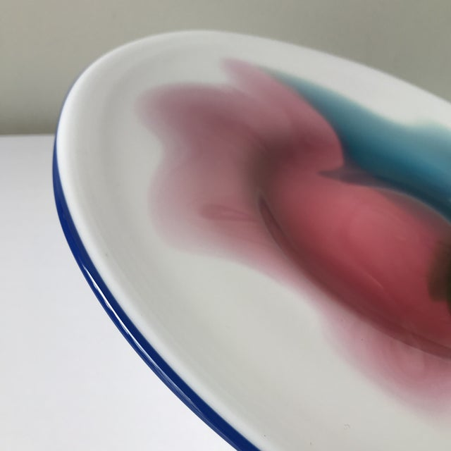 This is round hand blown glass platter Signed John K Walsh 1994