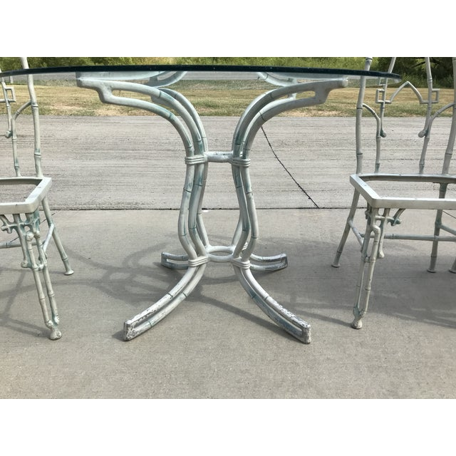 1960s Mid-Century Modern Kessler Industries Cast Aluminum Faux Bamboo Dining Set - 5 Piece Set For Sale - Image 9 of 12