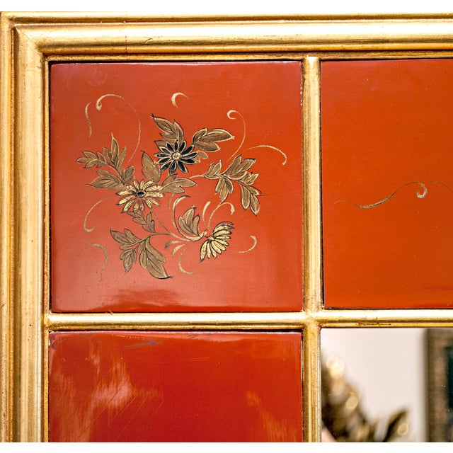 Asian Maison Jansen Giltwood and Red Japanned Mirror For Sale - Image 3 of 4