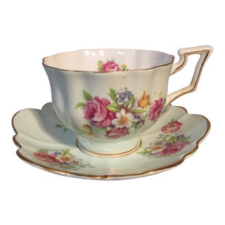 1940s Salisbury English Bouquet Bone China Cup & Saucer For Sale