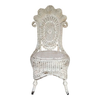 Vintage White Wicker Chair For Sale
