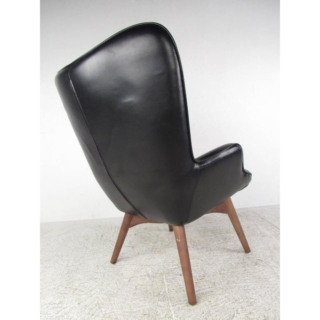 Late 20th Century Mid-Century Style Wingback Lounge Chair With Ottoman For Sale - Image 5 of 9