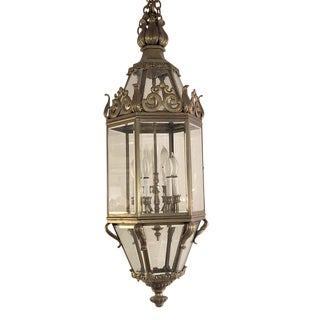 Mid 20th Century Antique Cast Bronze and Beveled Glass Hanging Lantern For Sale