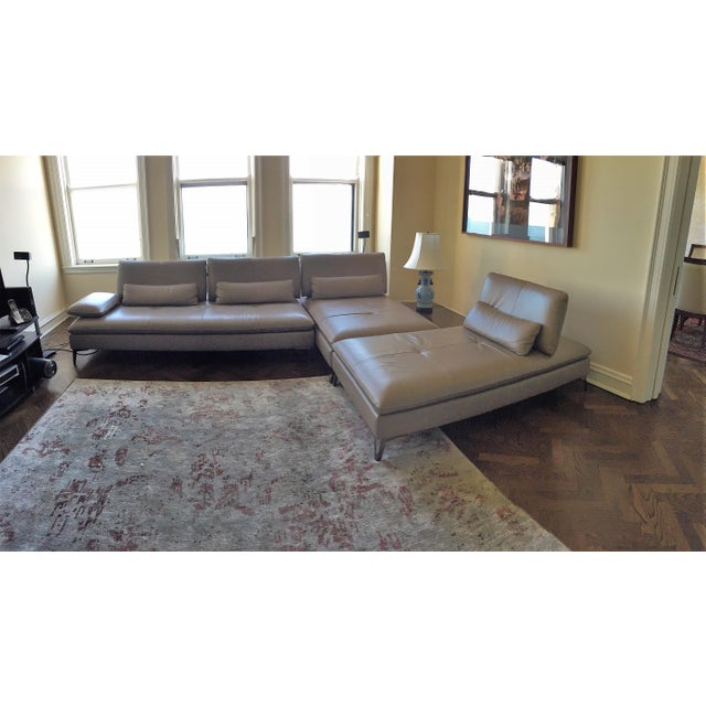 Roche Bobois Taupe 3 Pc Leather Sectional Sofa - Image 4 of 4