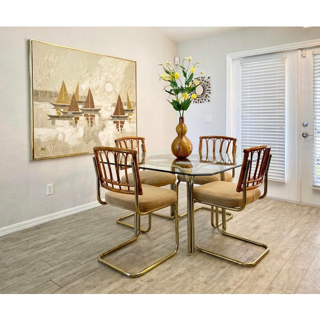 Palm Collection Mid Century Modern Bamboo Glass and Brass Dining Set For Sale - Image 4 of 9