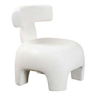 Back Rest Chair - Cream Lacquer by Robert Kuo, Hand Repoussé, Limited Edition For Sale