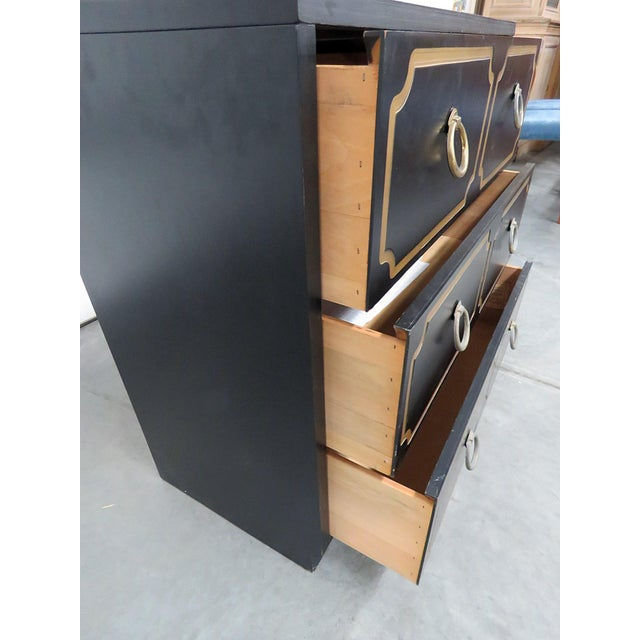 Mid 20th Century Mid-Century Modern Ebonized Black & Gold Chest For Sale - Image 5 of 10