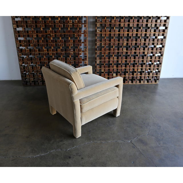 Tan 1970's Parsons Lounge Chairs in Mohair - a Pair For Sale - Image 8 of 13
