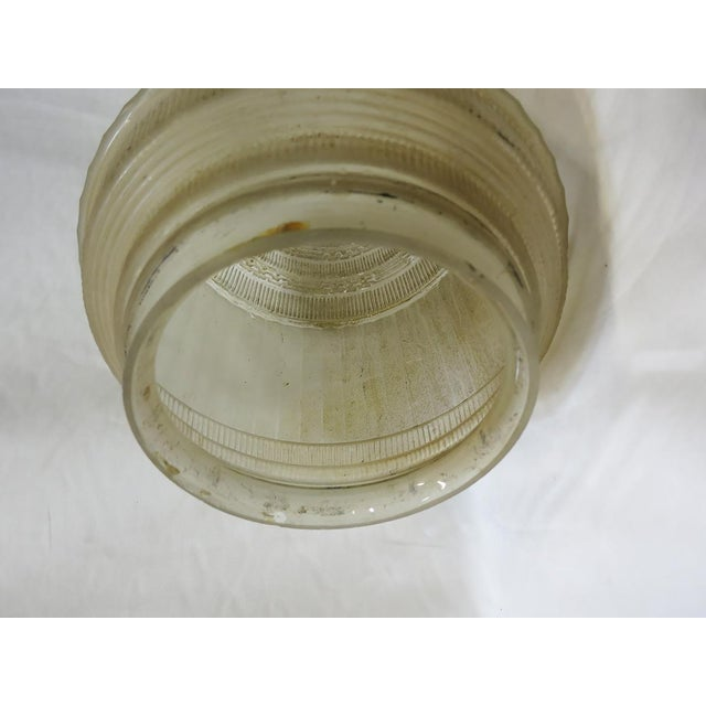 Art Deco Federal Glass Stepped Skyscraper Ceiling Glass Globe Pendant For Sale - Image 3 of 7