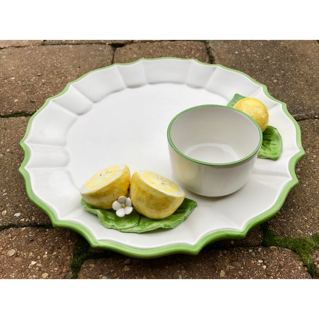 Cottage Italian Ceramic Majolica Trompe L'oeil Lemons Serving Platter With Bowl For Sale - Image 3 of 8