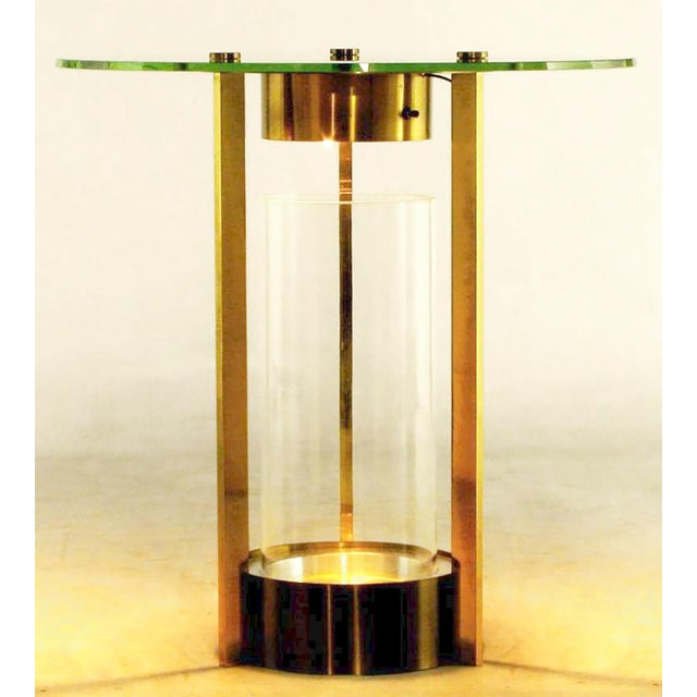 Mid-Century Modern Brass & Glass Cylindrical End Table Attributed To Dorothy Thorpe For Sale - Image 3 of 7