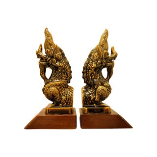 Oversized Thai Foo Dog Bookends - A Pair For Sale