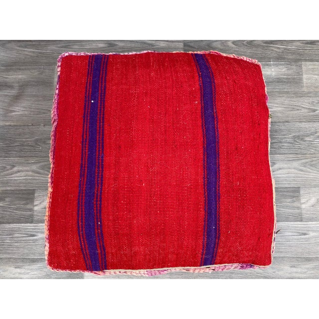 Hand Woven Berber Moroccan Pouf Cover For Sale - Image 11 of 13