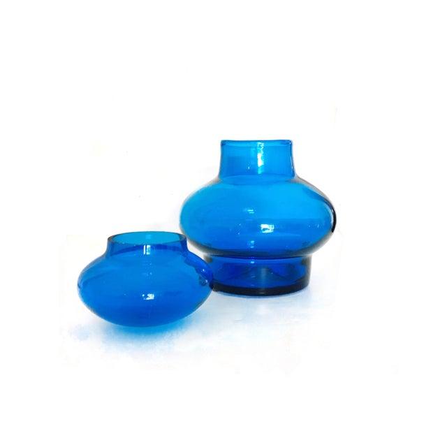 Mid-Century Modern Oversized Mid Century Royal Blue Blenko Art Glass Jar For Sale - Image 3 of 4
