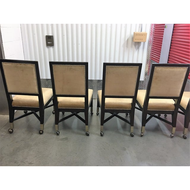 Mark David Gold Velvet Dining Chairs - Set of 6 For Sale - Image 5 of 9