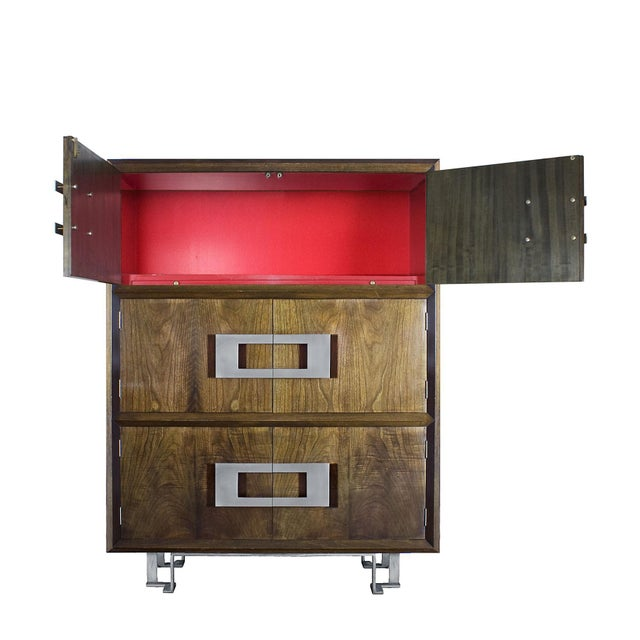 1970s Dry Bar by Jordi Vilanova, Six Doors, Walnut, Lacquer, Brass, Barcelona For Sale - Image 4 of 12