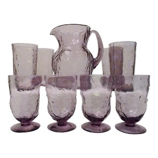 Mid-Century Amethyst Crinkle Glass by Old Morgantown - Set of 9 For Sale