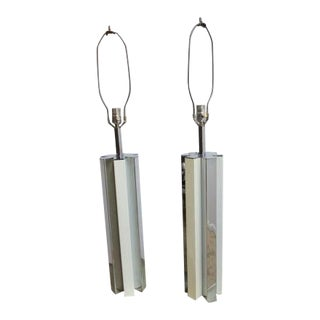 Vintage Milo Baughman Mid-Century Chrome Star Column Cylinder Table Lamps - a Pair For Sale