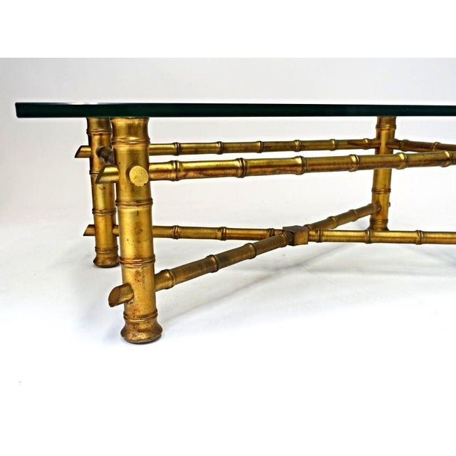 Faux Bamboo Glass Top Coffee Table For Sale - Image 5 of 10