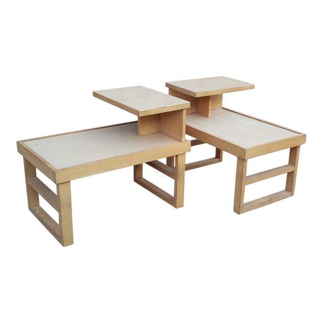 Paul Laszlo Style Blonde End Tables-A Pair For Sale