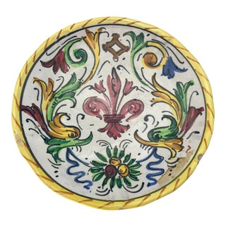 1900s Antique Hand Painted Deruta Majolica Raffaellesco Plate For Sale