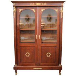 Empire Style Mahogany Bookcase with Bronze Sphinx Headdress and Feet