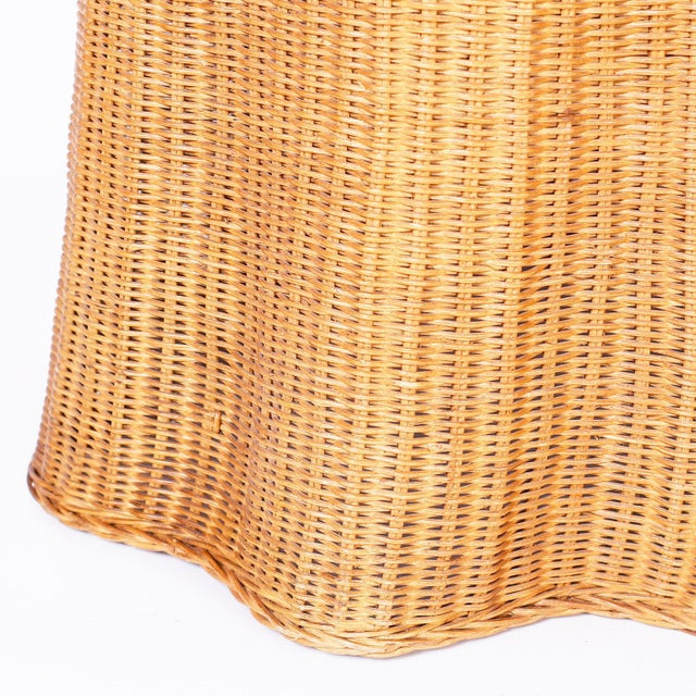 Tan Midcentury Wicker Drape Tables or Stands - A Pair For Sale - Image 8 of 9