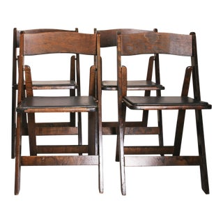 Vintage Dark Wood Folding Chairs - Set of 4