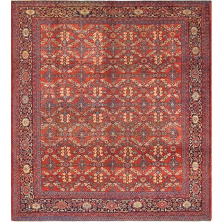 Square Sized Antique Mahal-Sultanabad Rug in Red and Blues For Sale